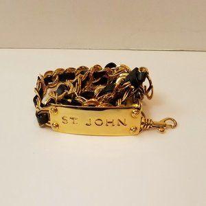 Vintage ST. JOHN Leather Gold Chain Nameplate Belt